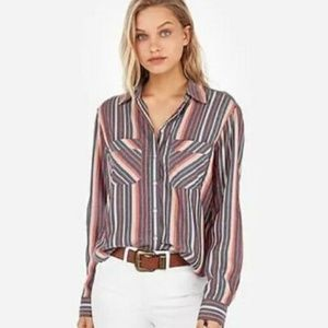 Express Gray Blue Striped Silky Soft Twill Shirt